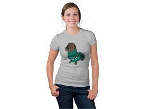 Womens Wiener Dog In Christmas Sweater Dachshund T shirt -M