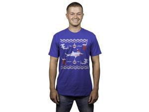 Mens Shark Bite Funny Ugly Christmas Holiday T shirt (Royal Blue) -L