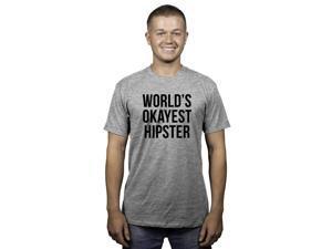 Mens Worlds Okayest Hipster Funny Mocking T shirt (Grey) -L