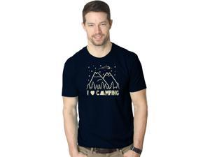 I Love Camping T shirt Funny Summer Outdoor Forest Tee Camp in Tents (blue) S