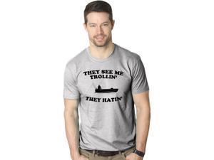They See Me Trollin T Shirt Funny Fishing Tee Parody Shirt -L
