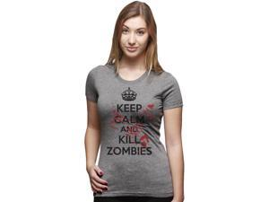 Womens Keep Calm And Kill Zombies T Shirt Womens Zombie Shirt Undead Tee M