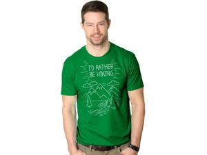 Mens I'd Rather Be Hiking Funny Summer Nature Camping T shirt (Green) XL