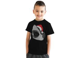 Youth Santa Jaws Funny Holiday Shark Christmas T shirt for Kids (Black) -XL