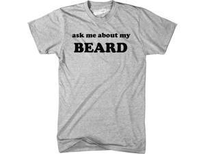 Ask Me About My Beard T Shirt Funny Facial Hair Flipup Tee XL