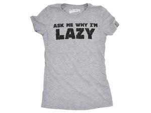 Ask Me Why I'm Lazy T Shirt Funny Flipup Sloth Tee For Women L