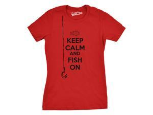 Womens Keep Calm And Fish On T Shirt Funny Tshirt Womens Going Fishing (Red) S