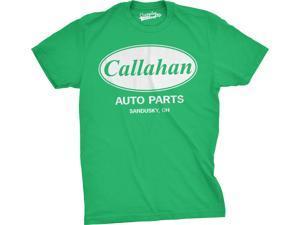Men's Callahan Auto Parts T Shirt Funny Logo Novelty Vintage Movie Tee for Guys Green XL