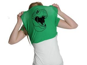 Womens Ask Me About My T-Rex T Shirt Funny Flip Up Trex Shirts For Women (Green) XL