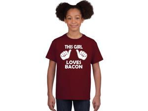 Kids This Girl Loves Bacon T-Shirt Funny Youth Shirt For Girls S