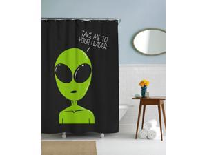 Take Me To Your Leader Alien Shower Curtain-standard