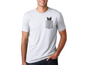 Mens Pocket Cat T Shirt Funny Cute Peeking Kitten Tee M
