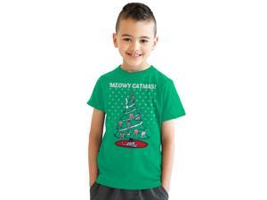 Youth Meowy Christmas Cat Tree Ugly Christmas Sweater T shirt GREEN-S