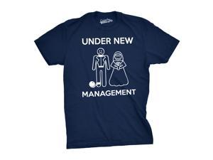 Mens Under New Management Funny Wedding Bachelor Party Novelty Tee For Guys (Navy) - XL