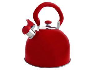 Stainless Steel Whistling Red Tea Kettle 3-Qt.