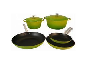 Le Chef 7 Piece Enamel Cast Iron Green Cookware Set, ON SALE.
