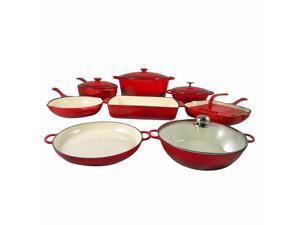 Le Chef 13 Piece Enameled Cast Iron Cherry Cookware Set. Super Sale.