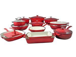Le Chef 22 Piece Enamel Cast Iron Cherry Cookware Set, on Sale.