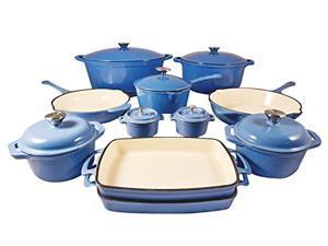 Le Chef 18-Piece Enameled Cast Iron France Blue Cookware Set.