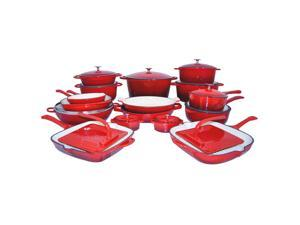 Le Chef 28 Piece Enameled Cast Iron Cherry Cookware Set, on Sale.