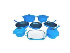 Le Chef 12-Piece Enamel Cast Iron France Blue Cookware Set