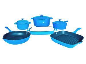 Le Chef 9-Piece Enamel Cast Iron Blue Cookware Set, Super Sale!