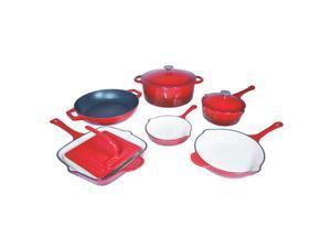 Le Chef 9-Piece Enamel Cast Iron Red Cookware Set, Super Sale!