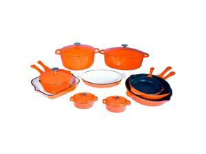 Le Chef 15 Piece Enamel Cast Iron Orange Cookware Set. on Sale.