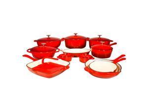 Le Chef 19 Piece Enameled Cast Iron Red Cookware Set. Super Sale!