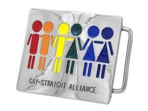 Rainbow Gay Straight Alliance Rectangular Belt Buckle - STR8, Gay & Lesbian Pride