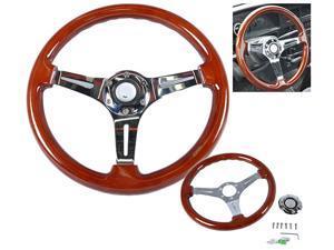 Classic Wood Grain Sport 350mm Steering Wheel Chrome Polish Spokes