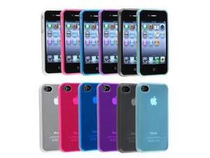 iPhone® 4 4S TPU Rubber Skin Case Combo (6-pack): Clear Frost Smoke, Clear Frost Light Blue, Clear Frost White, Clear Frost Hot Pink, Clear Frost Dark Blue, Clear Frost Purple