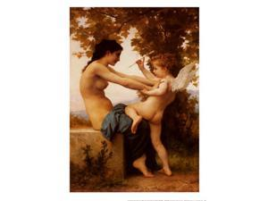 Girl Defending Herself Against Love Poster Print by William Adolphe Bouguereau (20 x 28)