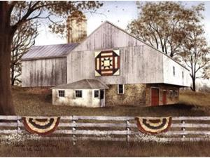 American Star Quilt Block Barn Poster Print by Billy Jacobs (16 x 12)
