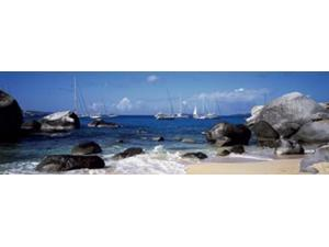 Sailboats in the sea, The Baths, Virgin Gorda, British Virgin Islands Poster Print by Panoramic Images (36 x 12)