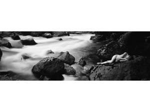 Side profile of a naked woman lying on a rock Poster Print by Panoramic Images (28 x 9)
