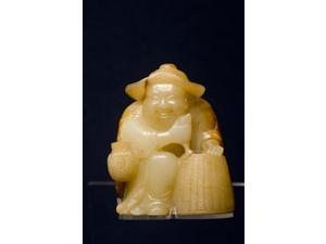China, Shanghai, Shanghai Museum. Carved jade fisherman. Print by Cindy Miller Hopkins