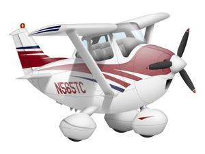 Cartoon illustration of a Cessna 182 aeroplane Poster Print (17 x 11)