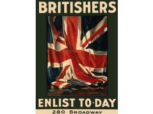 WWI Britishers, Enlist To Day, 280 Broadway / Guy Lipscombe &#59; The Hegeman Poster Print (24 x 36)