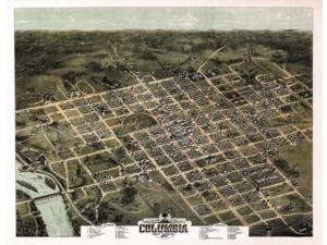 Old Map of Columbia South Carolina 1872 Richland County Poster Print (36 x 54)