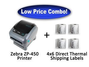 Zebra ZP-450 High Speed Direct Thermal Label Printer + 1,000 - 4x6 Shipping Labels