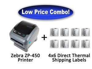 Zebra ZP-450 High Speed Direct Thermal Label Printer + 2,000 - 4x6 Shipping Labels