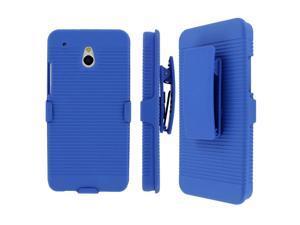 HTC One Mini  Belt Clip Case, MPERO Collection 3 in 1 Tough Blue Kickstand Case for HTC One Mini M4