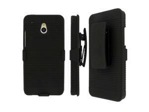 HTC One Mini Belt Clip Case, MPERO Collection 3 in 1 Tough Black Kickstand Case for HTC One Mini M4