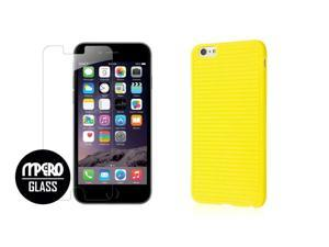 iPhone 6 Plus / 6S Plus Case + Bubble Free Tempered GLASS Screen Protector Combo, Yellow GRUVE TPU Case