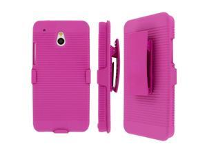 HTC One Mini Belt Clip Case, MPERO Collection 3 in 1 Tough Hot Pink Kickstand Case for HTC One Mini M4