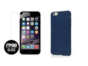 iPhone 6 Plus / 6S Plus Case + Bubble Free Tempered GLASS Screen Protector Combo, Navy Blue GRUVE TPU Case