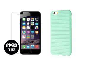 iPhone 6 Plus / 6S Plus Case + Bubble Free Tempered GLASS Screen Protector Combo, Mint Slim-Fit TPU Case