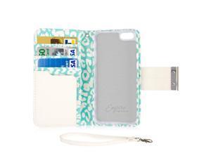 KLIX KLUTCH Designer Wallet Case, Apple iPhone SE 5 5S, Mint Leopard