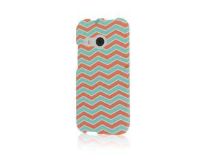 HTC One Mini 2 Case, MPERO SNAPZ Series Rubberized Case for HTC One Mini 2 / One Remix - Mint Chevron